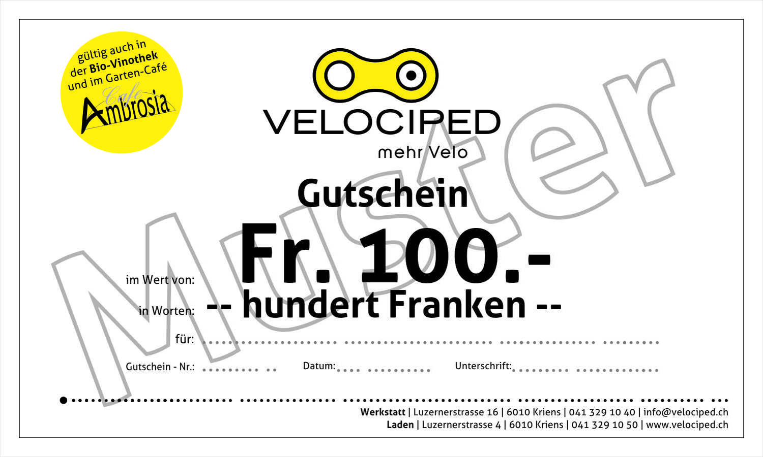 Velociped 100-Franken-Gutschein