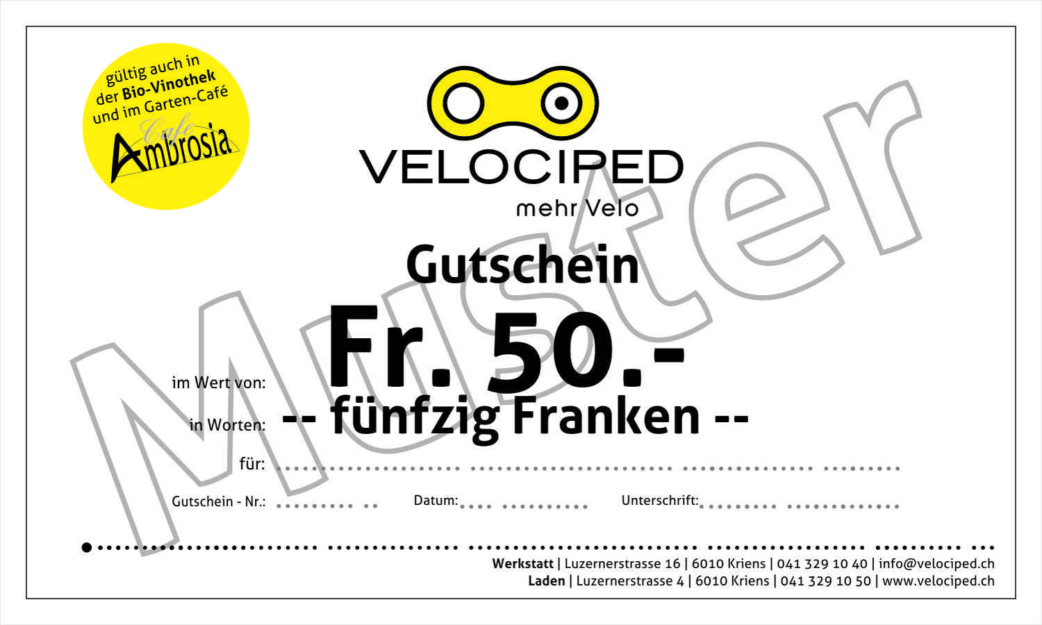 Velociped 50-Franken-Gutschein